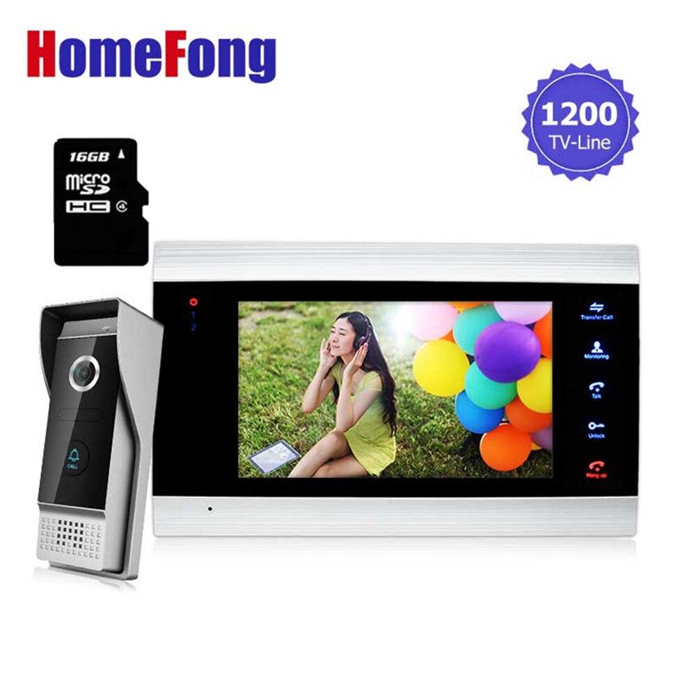 Homefong 7 видеодомофон TFT 1200TVL дверной монитор рекордер система SD/TF карты Поддерживается водонепроницаемый