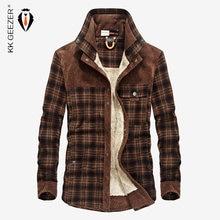 ab305c93ad Inverno Quente Casual Camisa Xadrez de Lã Casaco Desgaste Dos Homens de  Flanela de Algodão Grosso