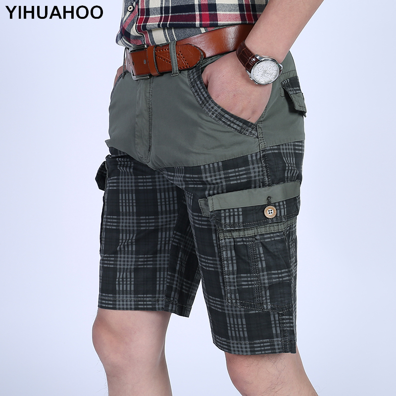 YIHUAHOO 100% Cotton Summer Shorts Men 2018 Plaid Knee Length Casual Short Pants With Multi-Pockets Bermuda Cargo Shorts LW-8M17
