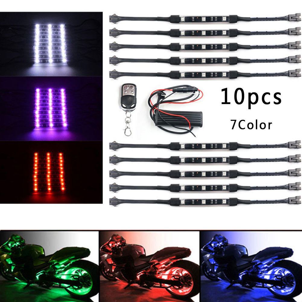 10 Pcs Motorcycle Car Light Underglow RGB Lamp Tape With Remote Control 7Color RGB Motorcycle Underglow Neon LED Light Strip Kit