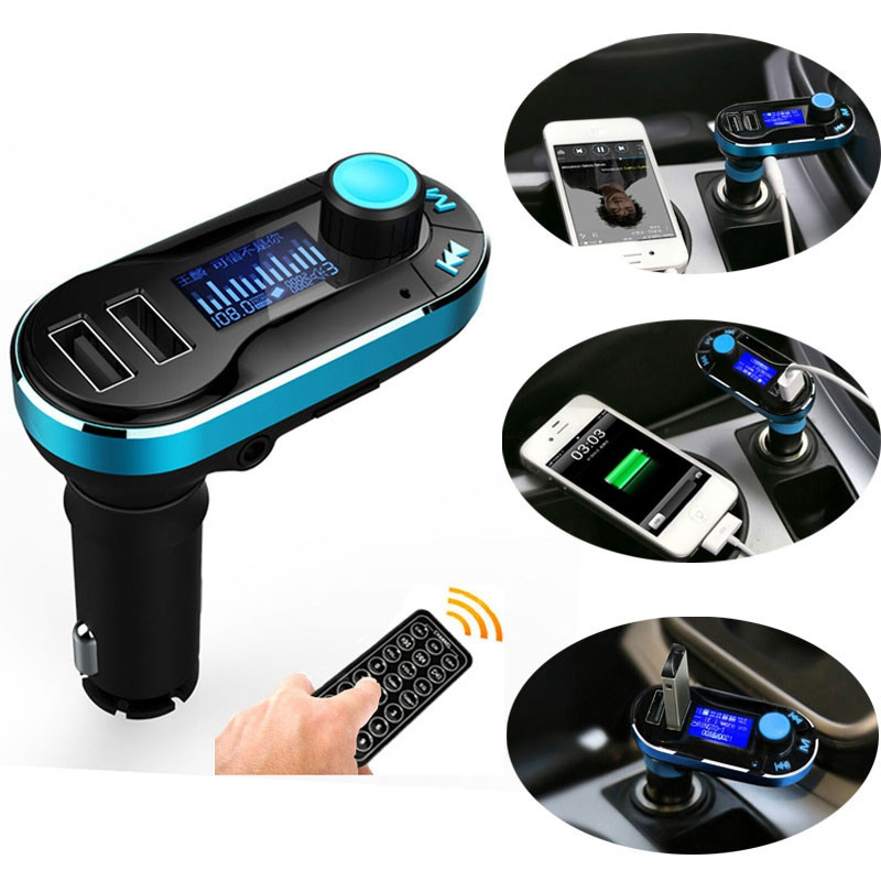 New high quality Wireless Bluetooth Car Kit MP3 Player FM Transmitter SD TF Dual USB Charge Green @#216