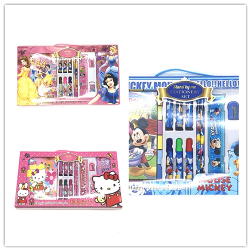 Creative stationery set Primary school gifts Children's school supplies Mickey Mouse hellokitty theme birthday gift stationery m&g stationery set primary school pupil intelligence box multifunctional kindergarten teaching aid prize