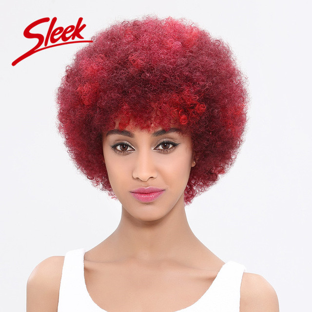 Sleek 2016 Fashion Color Afro Kinky Curly Wig, Human Hair Wigs for Black Women, Kinky Afro Wigs for African Americans ,Afro wigs