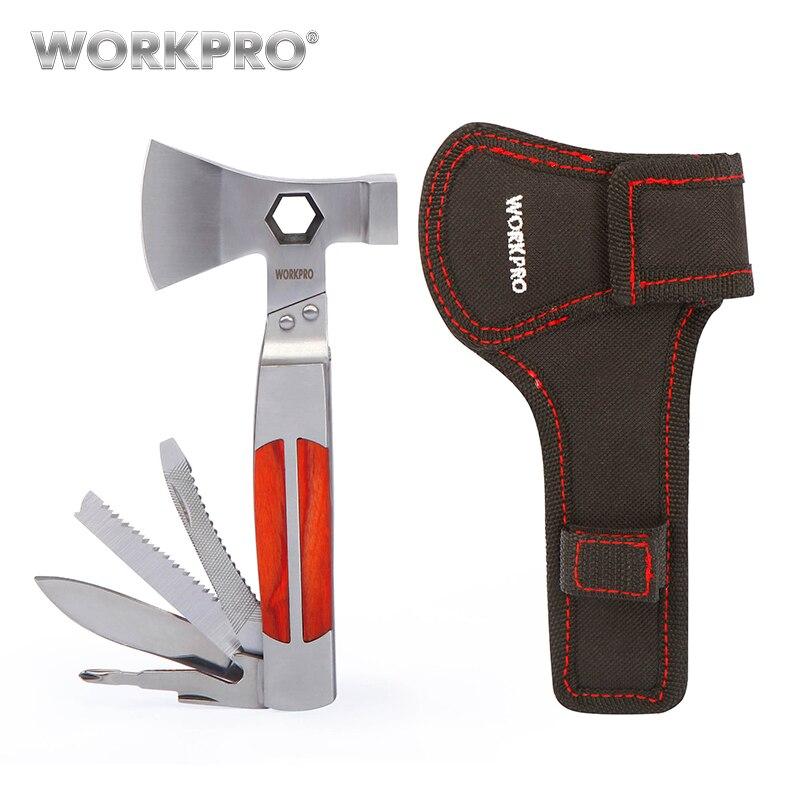 WORKPRO 12 en 1 Multi herramientas hacha pesada doble hacha/martillo bolsillo herramienta multifuncional