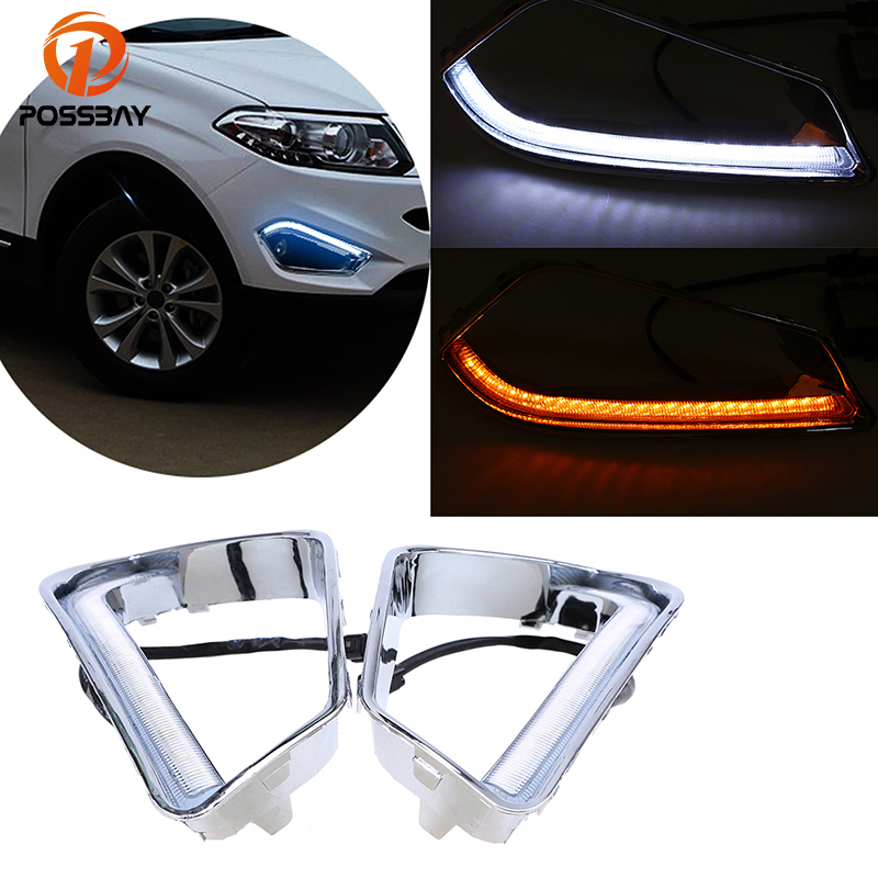 POSSBAY White+Yellow LED DRL Daytime Running Lights for Chery Tiggo 5 2013 2014 2015 Turn Signal Front Lower Bumper Grilles possbay car led drl daytime running lights fog light for chery tiggo 5 t21 2013 2014 2015 with white yellow turn signal light