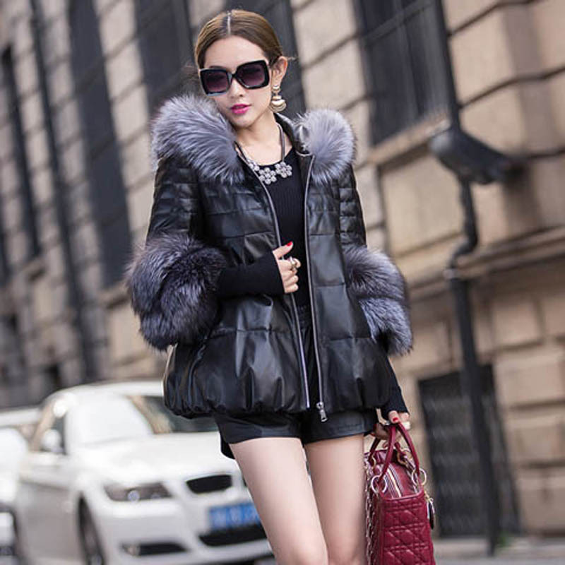 Бесплатная доставка; Модель 2016 года последние Дизайн На зимнем меху пальто мода Slim зимняя женская обувь кожаная куртка лиса меховой воротни...
