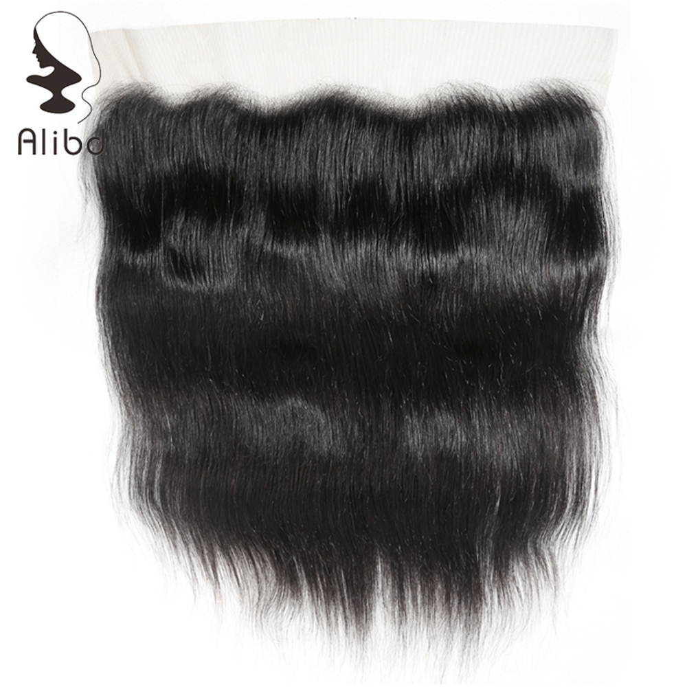 Alibd 13*4 Lace Frontal Closure Straight Brazilian Human Hair Closure Free Part Natural Color Remy Hair Closure With Baby Hair