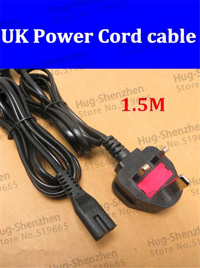 Vente chaude 5 pcs/lot 1.5 M cordon dalimentation câble plomb UK plug 2 broches câble dalimentation adaptateur pour ordinateur portable de haute qualité avec fusible 3A