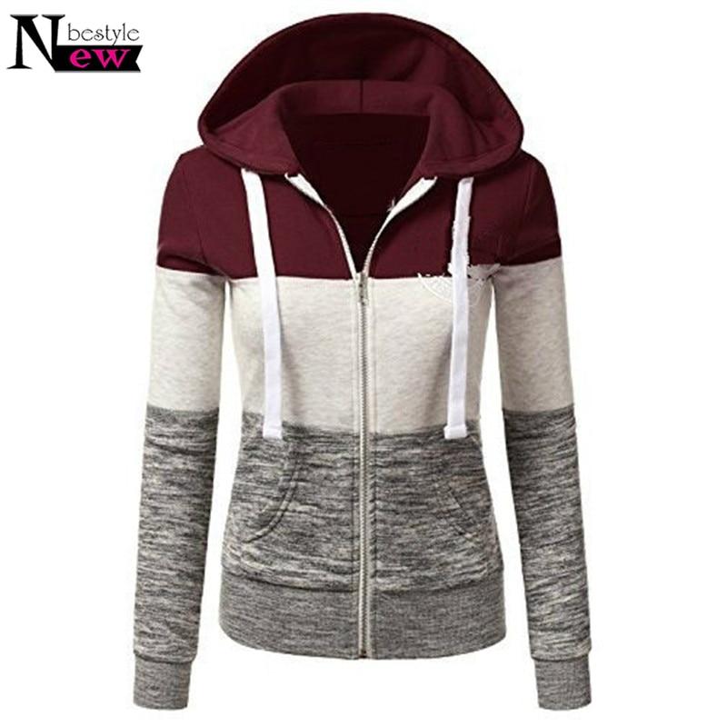 2018 Women Hoodies Sweatshirts Long Sleeve Hoody Ladies Zipper Pocket Patchwork Womens S ...