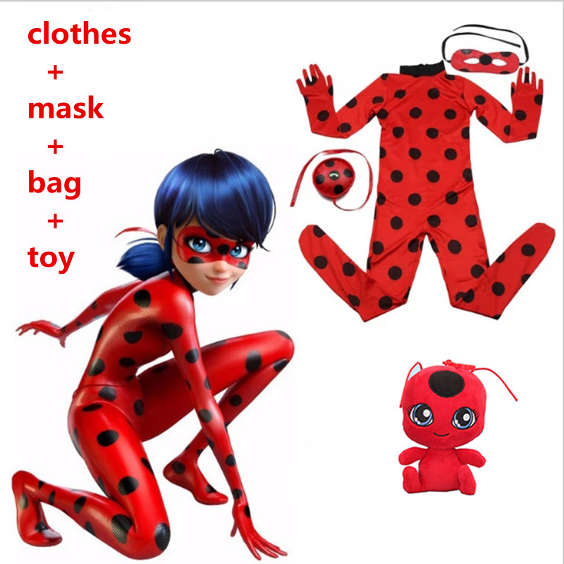 Ladybug Girl clothes Miraculous Kids Marinette Cartoon Second Skin Halloween Party costumes Suit cosplay costumes+mask+bag+toy kids miraculous ladybug cat noir cosplay miccostumes costume with mask ladybug black romper bodysuit halloween tight jumpsuit