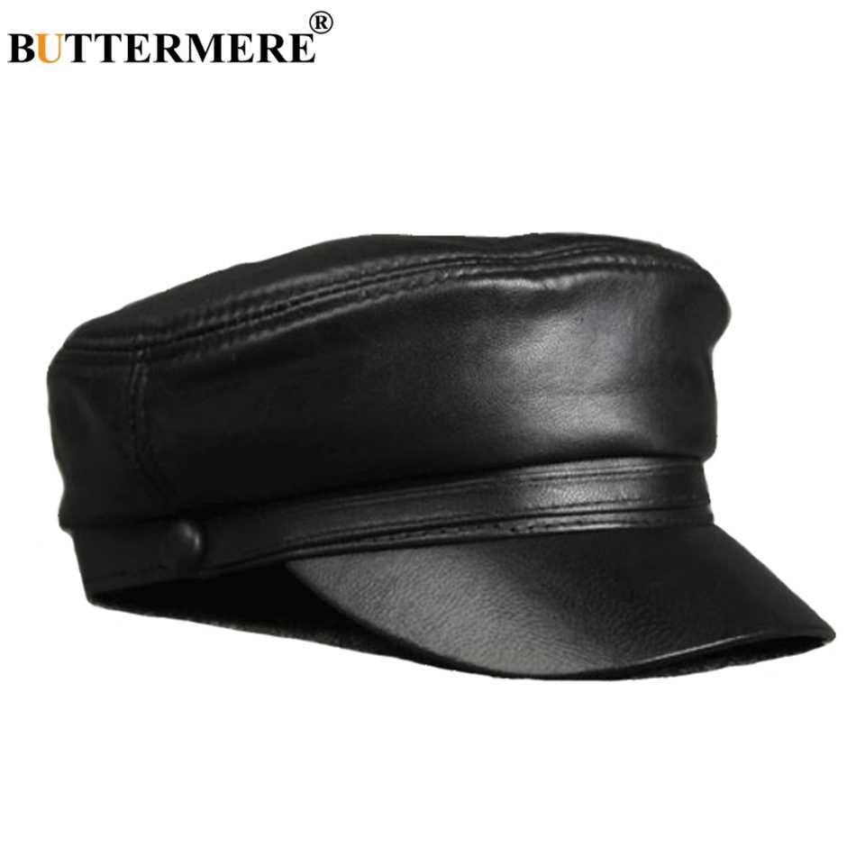 a898a98f929c Gorros militares de cuero BUTTERMERE para hombres gorras planas informales  negras de cuero genuino de las mujeres del ejército Vintage Otoño ...