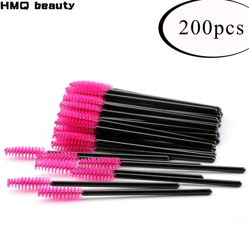 200Pcs Disposable Eyelash Eyebrow Brushes One-off Mascara Applicator Wand Spoolers Eyelash Comb Brushes Makeup Tool Set