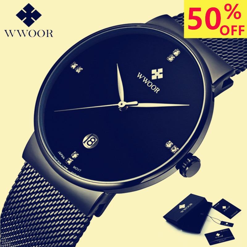 Brand WWOOR Watch Men Luxury Stainless Steel Waterproof Watches Calendar Quartz Wrist Gold Watch Male Clock montre homme 2018