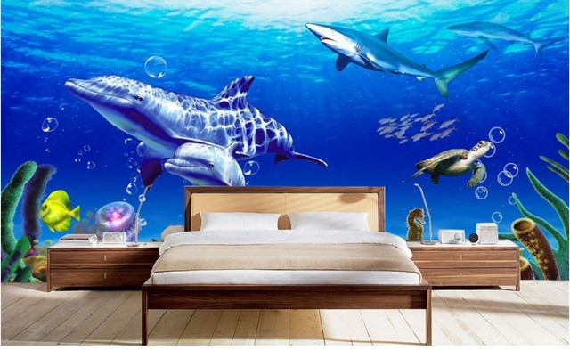 can customized Cartoon Underwater world dolphins children large 3d mural wallpaper wall stickers waterproof dinning room bedroom