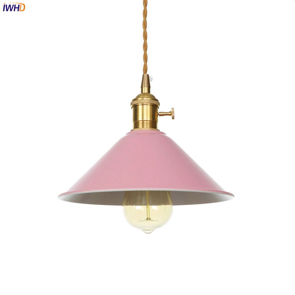 IWHD Pink LED Pendant Lights Creative Hanging Lights With Switch Adjustable Nordic Pendant Lamp Simple Fixtures Home Lighting in Pendant Lights from Lights Lighting