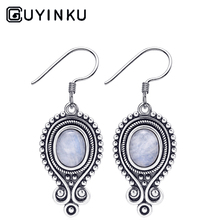 GUYINKU DIY Original Design Natural Moonstone Drop Earrings 925 Sterling SilverJewelry EarringsParty Gifts Wholesale