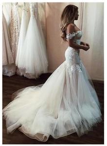 Image 2 - SoDigne kapalı omuz aplike dantel Mermaid gelinlik 2020 Mermaid/trompet tren Illusion gelin kıyafeti elbise beyaz