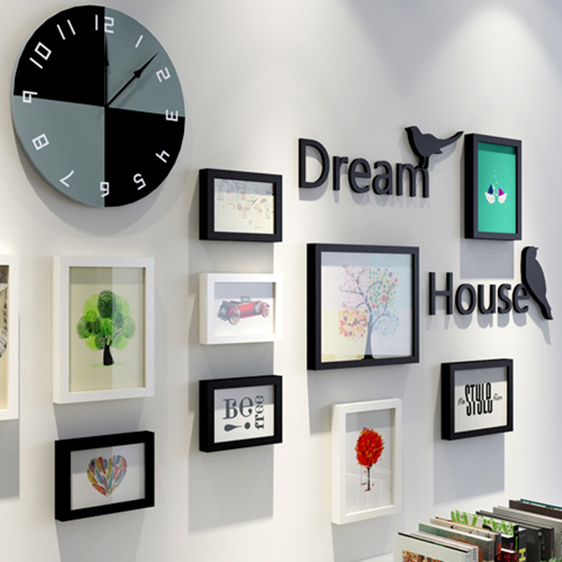 14 Piece Photo Frames with Pictures Wall Decoration Hanging Mural ...