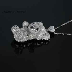Image 5 - Cute Bear Full of Glittery Cubic Zirconia 925 Sterling Silver Pendant With Chain Best Birthday Gift for Children and Lady