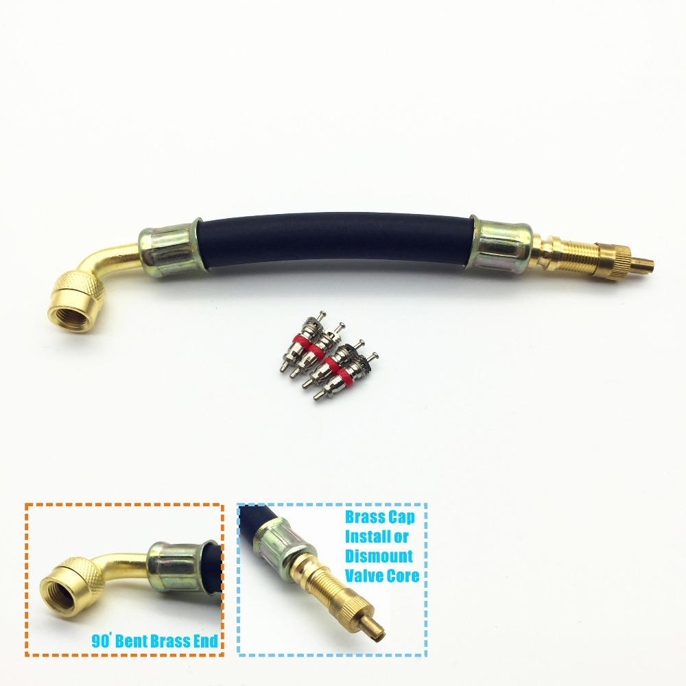 1set(5pcs),5 Long,90 Degree Bent End,Flexible Rubber Valve Extension,Work w/ Car,Motorcycle Tire Valve Directly,Brass Valve Cap