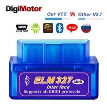 Настоящее ELM327 V 1,5 ELM 327 Bluetooth OBD2 v1.5 android автомобильный сканер автомобильной БД 2 инструмент диагностики авто OBDII сканер лучше V2.1