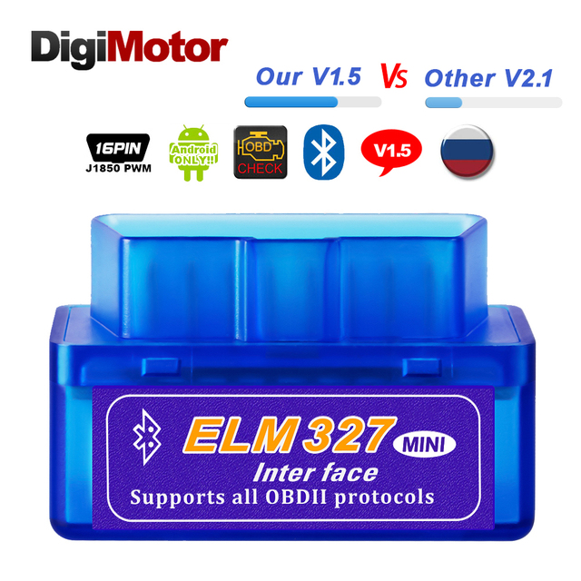 Real ELM327 V 1,5 ELM 327 Bluetooth OBD2 v1.5 Android coche escáner automotriz OBD 2 Auto OBDII de la herramienta de diagnóstico mejor V2.1