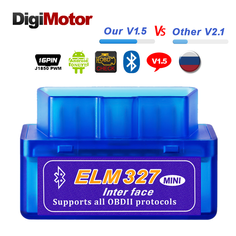Real ELM327 V 1.5 ELM 327 Bluetooth OBD2 v1.5 Android Car Scanner Automotive OBD 2 Auto Diagnostic Tool OBDII Scaner Better V2.1