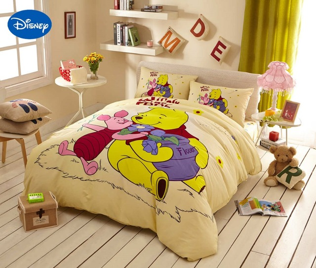 disney cartoon winnie de pooh knorretje beddengoed set voor kinderen jongens slaapkamer decor katoen bed cover