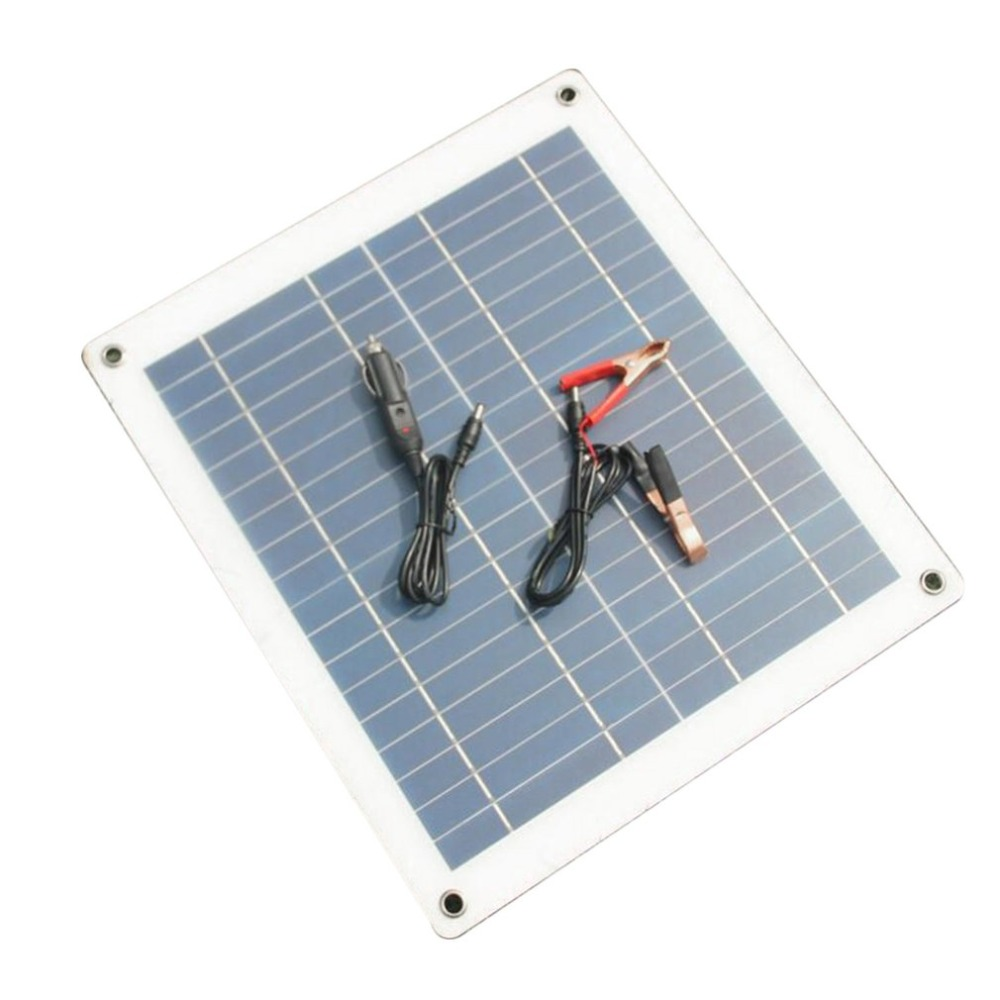 New 30W 18V Solar Panel Charger Semi-flexible Solar Panel High Efficiency Battery Charger with Alligator Clip Wire For Car Boat soalrpart 180w semi flexible solar panel battery with back side connection box with mc4 for 12v solar car battery charger