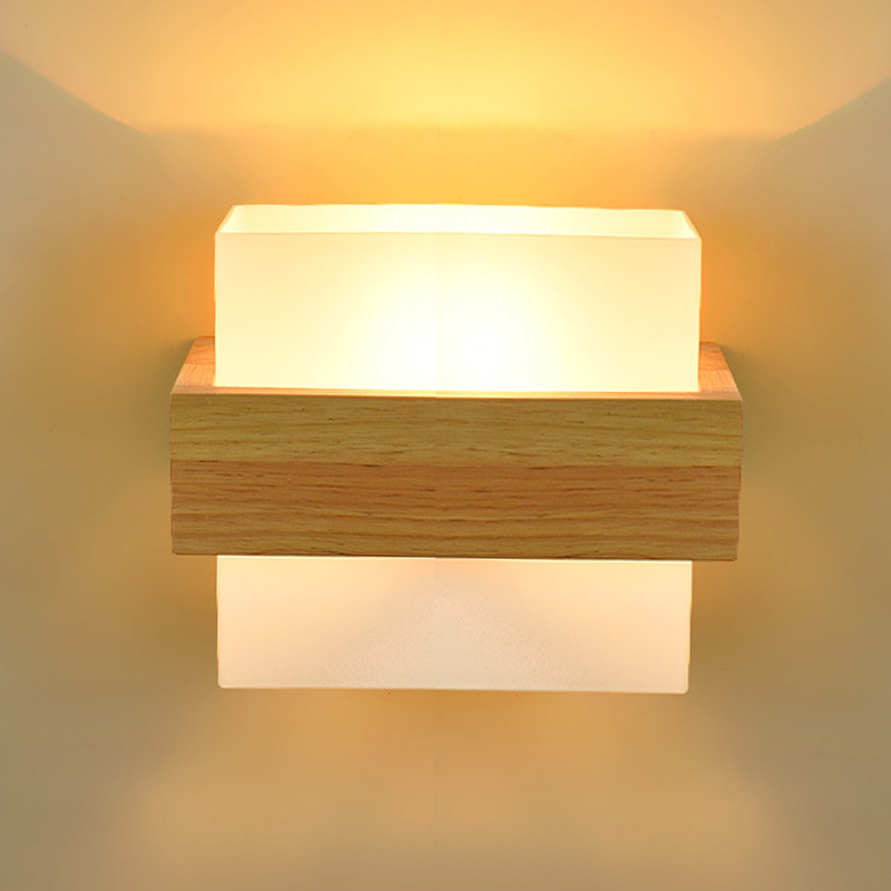 Moderne Style japonais LED en bois massif applique murale pour chambre chevet étude fond mur escalier minimaliste nordique appliques E27