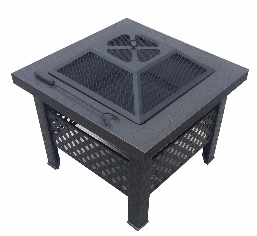 Backyard Fire Pit Steel Fire Pit For Outdoor Fireplace Barbecue Grill Black Color
