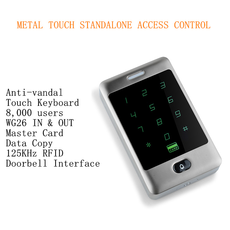 2016 New Arrival 125Khz 8,000 RFID & PIN Users Metal Anti-vandal Touch Standalone Access Controller Standalone 8 000 users metal case touch keyboard single 125khz rfid door access controller standalone