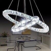 Popular Diamond Ring LED Crystal Pendant Light Modern LED Circles Hanging Lamp Foyer Dining Room Lighting Home Decoration