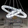 Popular anel de diamante led cristal pingente luz moderno led círculos pendurado lâmpada foyer sala jantar iluminação decoração para casa