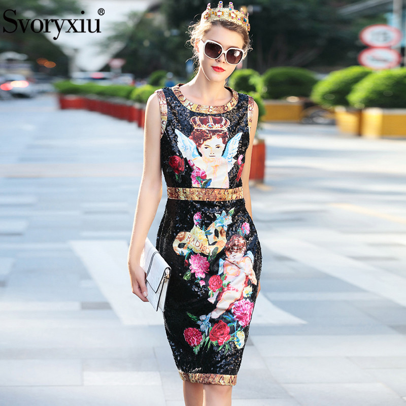 Svoryxiu Runway Custom Sequined Dress Women s Sleeveless Rose Flower Angel Printed High Quality Party Sequined