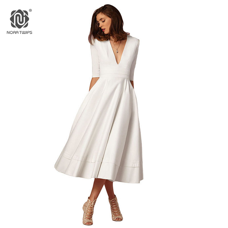 1a8ec81bcb NORA TWIPS 2018 Spring Style Women Sexy V-Neck Party Dress High Quality  Polyester Solid