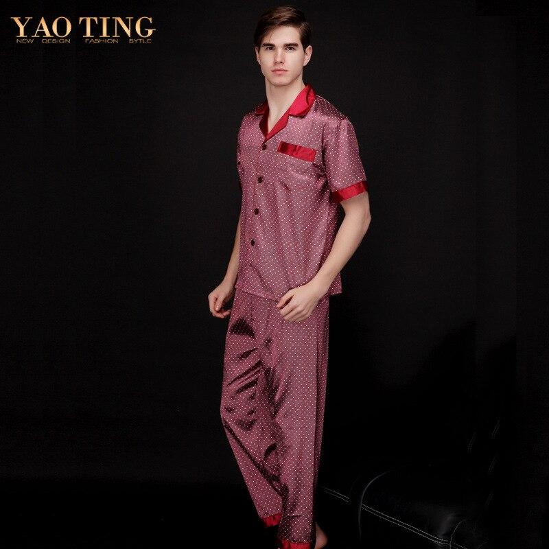 2 Pcs Mens Sleepwear Silk Satin Pajamas Set Pajama Pyjamas Men ...