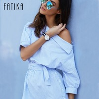 FATIKA 2017 Summer Dress Women One Shoulder Striped Dress With Sashes Woman Casual Loose Shirt Dresses