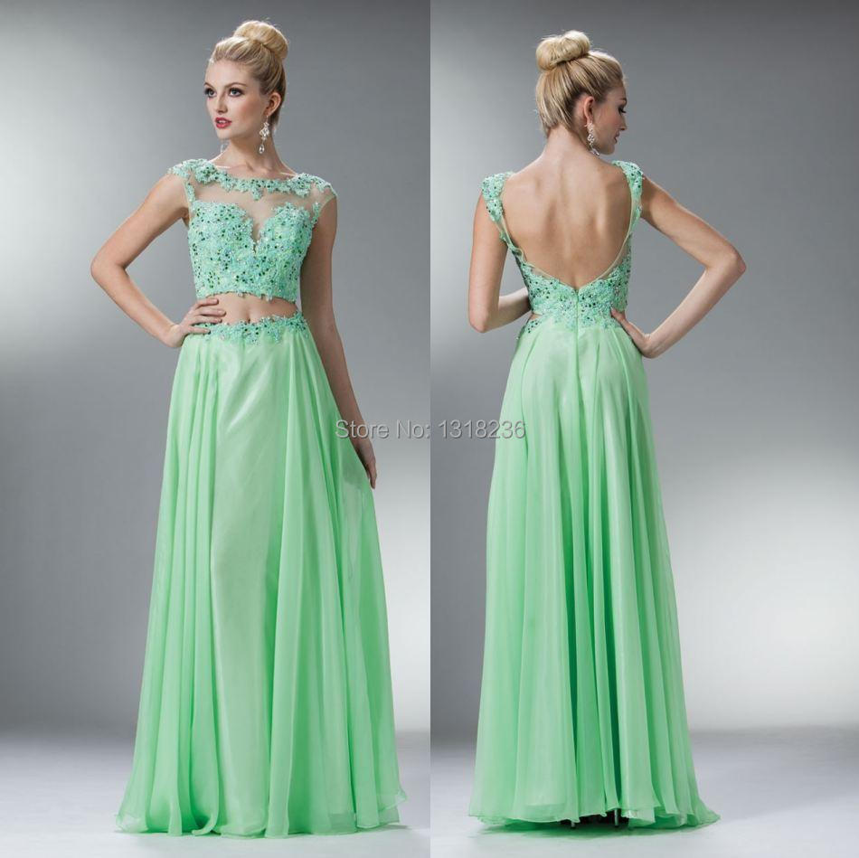 A line Floor Length Scoop Cap Sleeves Appliques Chiffon Two Pieces ...