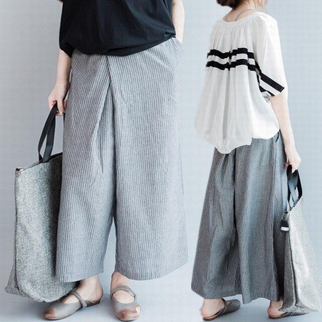 12bfae80df8 Plus Size 2018 Summer Ladies Korean Fashion Striped Wide Leg Pants Women  Female Big Cotton Linen Casual Loose Flare Pant Trouser
