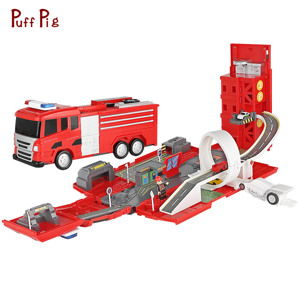 New Fire Engine Model Alloy Car Toy Fire Truck Transformation Deformation Fire station Toys For Children Gift Toy Vehicles Kids