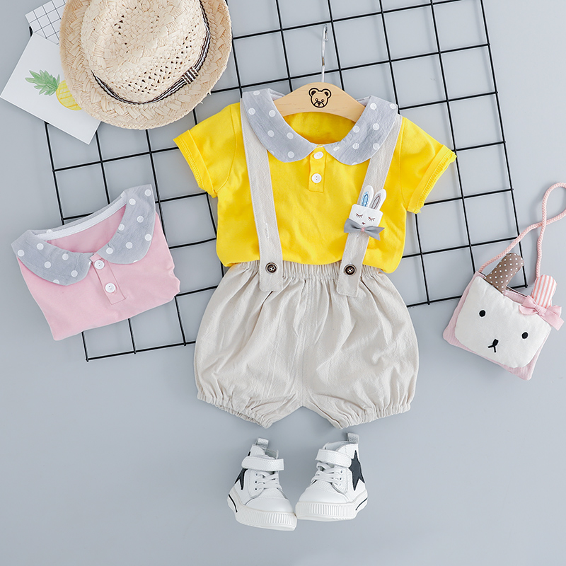 2019 Summer Toddler Infant Clothes Suits Baby Girls Clothing Sets T Shirt Bib Pants Kids Children Casual Shorts Suit in Clothing Sets from Mother Kids