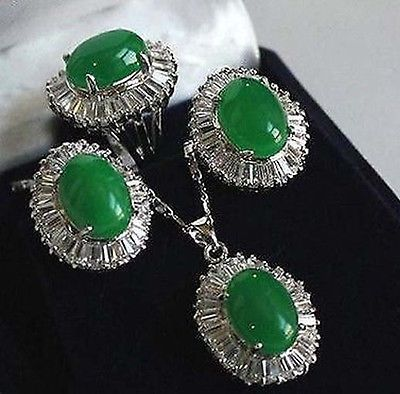 Wholesale beautiful Sets green gem pendant necklace Stud earring Ring NATURAL Quartz Crystal Women Wedding free shipping