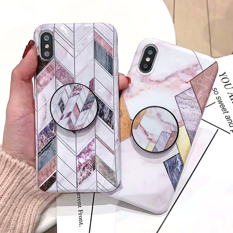 Geometric Marble Pattern Kickstand Phone Case For iPhone XS Max XR X 6 6S 7 8 Plus Fashion IMD Soft Protective Back Cover Coque (2)