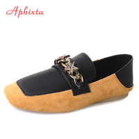 Aphixta Loafers Women Flats Heel Star Metal Yellow Slip On Square Toe Female Ladies Casual Boat