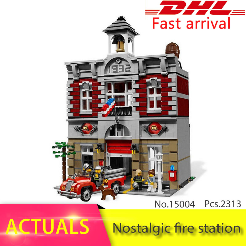Lepin 15004 2313Pcs CREATOR series Nostalgic fire station Model Building Blocks Set Bricks Toys For Children Gift 10197 lepin 15004 2313pcs city creator series fire brigade model building blocks bricks toys for children gift compatible 10197