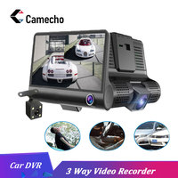 Camecho 4'' 3 Way Car DVR Camera Video Recorder Rear View Auto Registrator ith Two Cameras Dash Cam DVRS Dual Lens Holder Stand