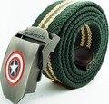 Capitán América caliente 2017 moda casual hombres de alta calidad de la lona cinturones cinturones de Dibujos Animados de moda para los hombres Del Ejército Verde negro 110 120 cm