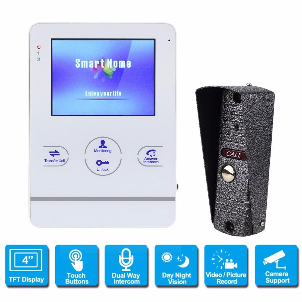 Video Intercom Doorbell 4 inch TFT 800TVL Rainproof Door Phone Camera for CCTV Home Security Video Door Phone System F1393B