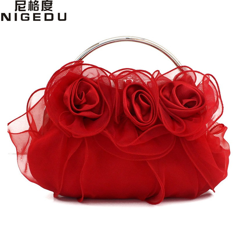 Rose Flower Lace Bride Evening Bag Full Dress Party Handbag Wedding Women Clutch Lady Gift Shoulder Bags Purse And Clutches